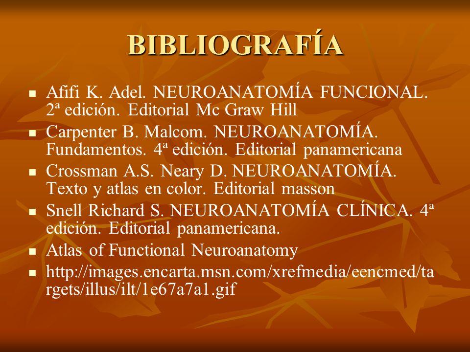 BIBLIOGRAFÍA Afifi K. Adel. NEUROANATOMÍA FUNCIONAL. 2ª edición. Editorial Mc Graw Hill.