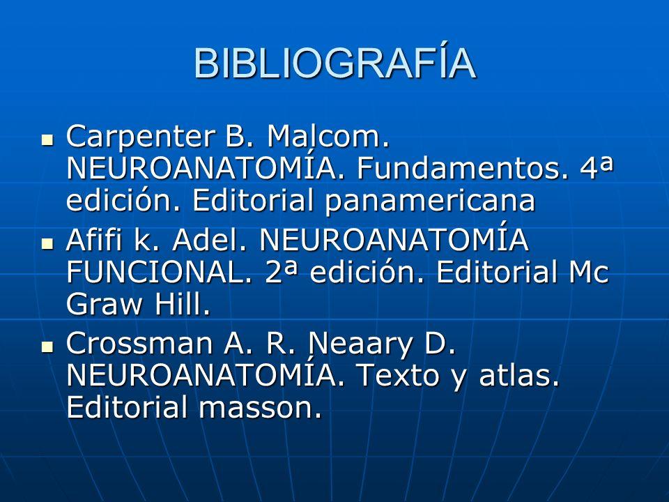 BIBLIOGRAFÍA Carpenter B. Malcom. NEUROANATOMÍA. Fundamentos. 4ª edición. Editorial panamericana.