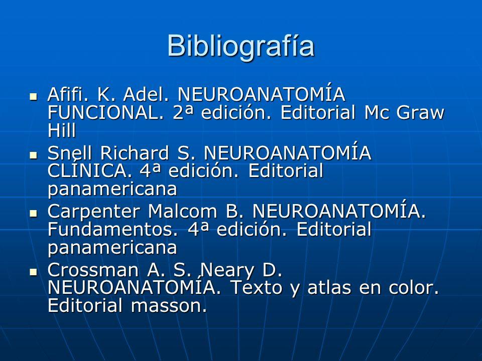 BibliografíaAfifi. K. Adel. NEUROANATOMÍA FUNCIONAL. 2ª edición. Editorial Mc Graw Hill.