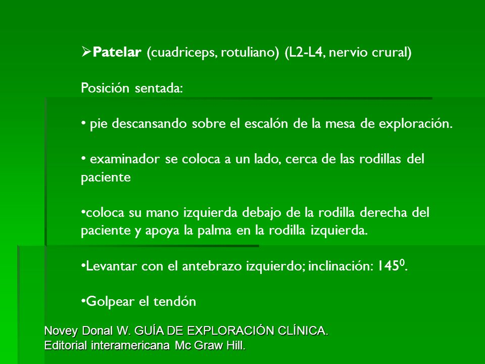 Patelar (cuadriceps, rotuliano) (L2-L4, nervio crural)