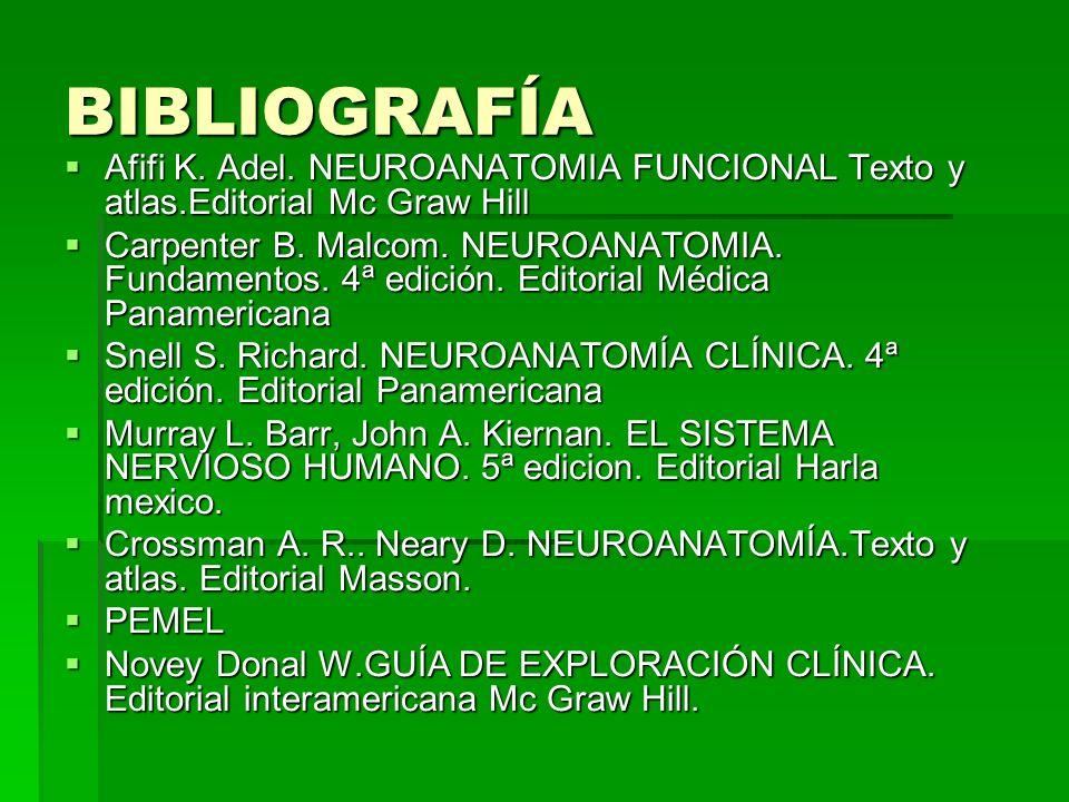 BIBLIOGRAFÍA Afifi K. Adel. NEUROANATOMIA FUNCIONAL Texto y atlas.Editorial Mc Graw Hill.