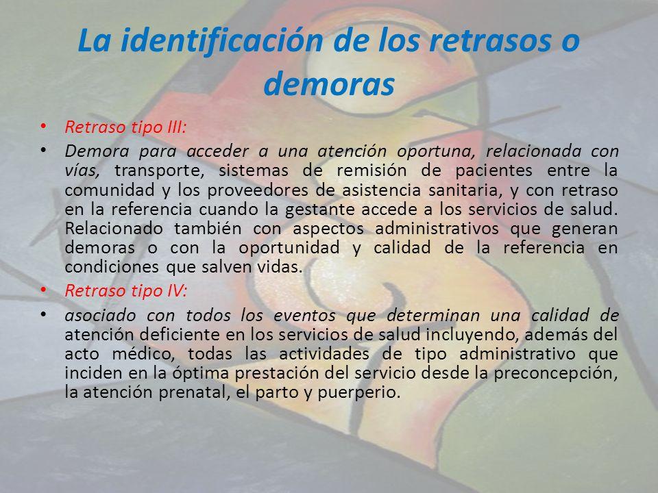 La identificación de los retrasos o demoras