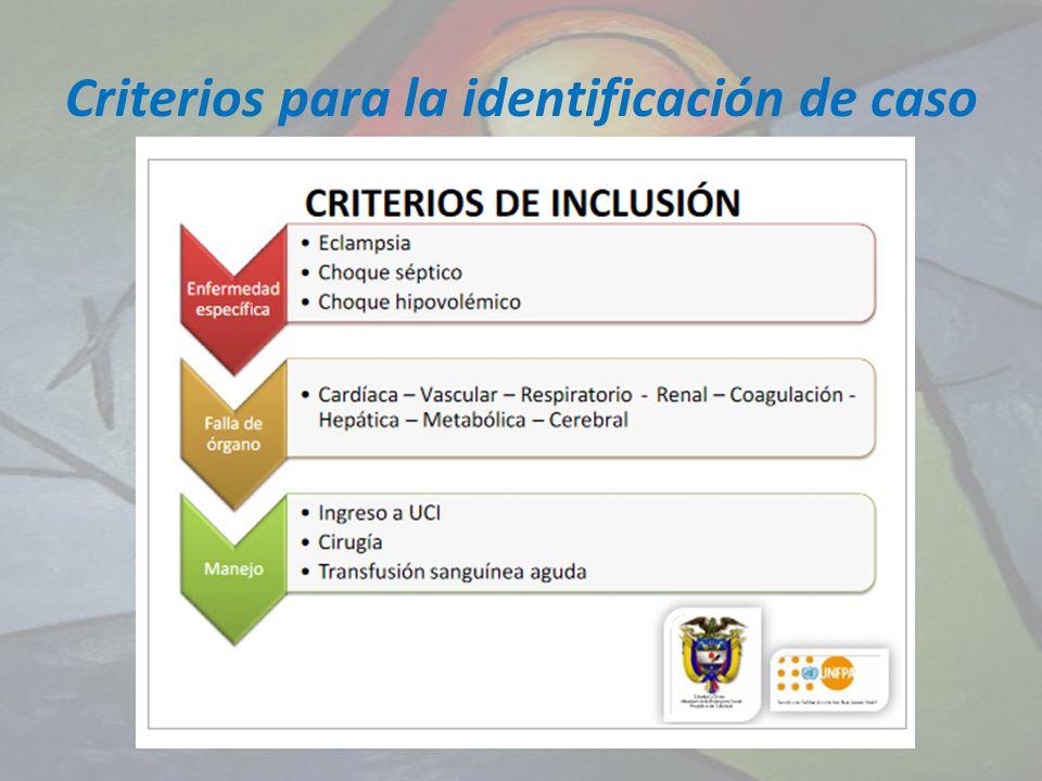 Criterios para la identificación de caso