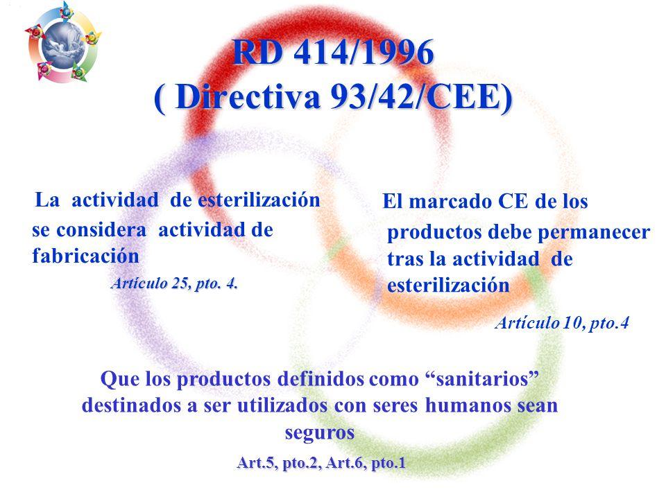 RD 414/1996 ( Directiva 93/42/CEE) La actividad de esterilización se considera actividad de fabricación.