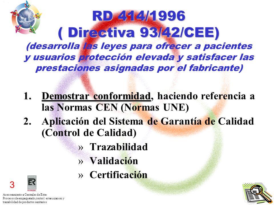RD 414/1996 ( Directiva 93/42/CEE) (desarrolla las leyes para ofrecer a pacientes y usuarios protección elevada y satisfacer las prestaciones asignadas por el fabricante)