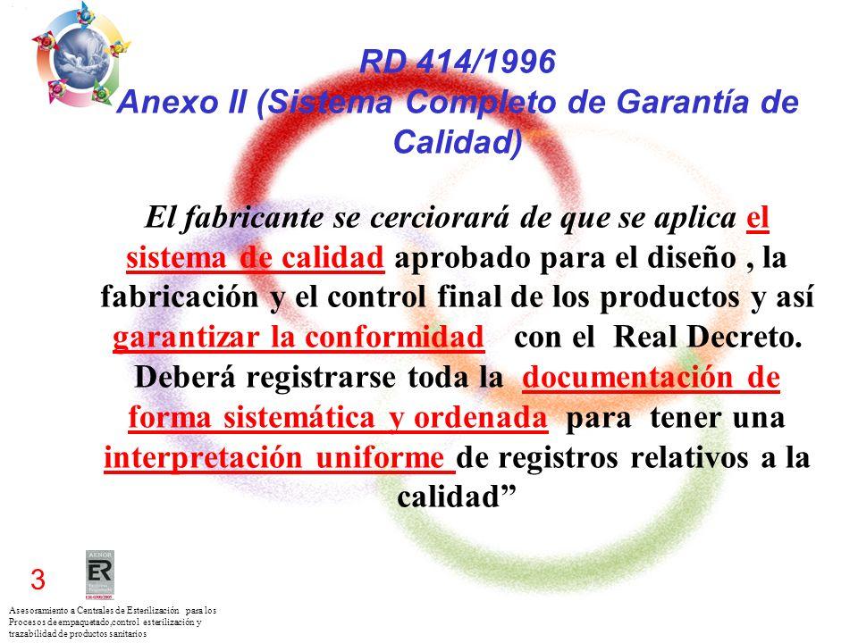 RD 414/1996 Anexo II (Sistema Completo de Garantía de Calidad) El fabricante se cerciorará de que se aplica el sistema de calidad aprobado para el diseño , la fabricación y el control final de los productos y así garantizar la conformidad con el Real Decreto.
