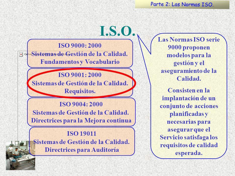 Parte 2: Las Normas ISO. I.S.O. Las Normas ISO serie 9000 proponen modelos para la gestión y el aseguramiento de la Calidad.