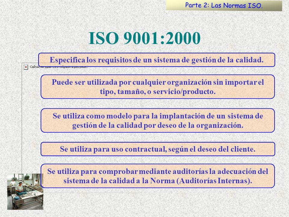 Parte 2: Las Normas ISO. ISO 9001:2000. Especifica los requisitos de un sistema de gestión de la calidad.