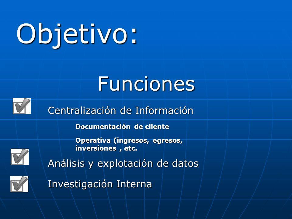 Objetivo: Funciones Centralización de Información