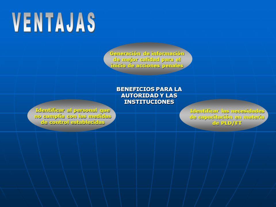VENTAJAS BENEFICIOS PARA LA AUTORIDAD Y LAS INSTITUCIONES