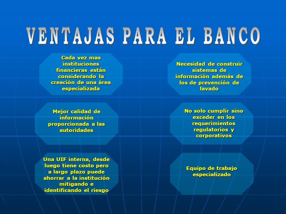 VENTAJAS PARA EL BANCO Cada vez mas instituciones financieras están considerando la creación de una área especializada.