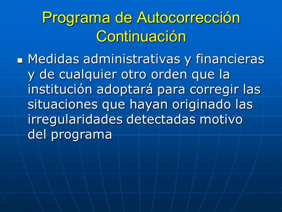 Programa de Autocorrección Continuación