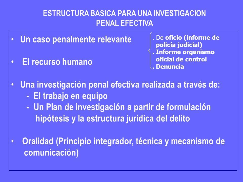 ESTRUCTURA BASICA PARA UNA INVESTIGACION PENAL EFECTIVA