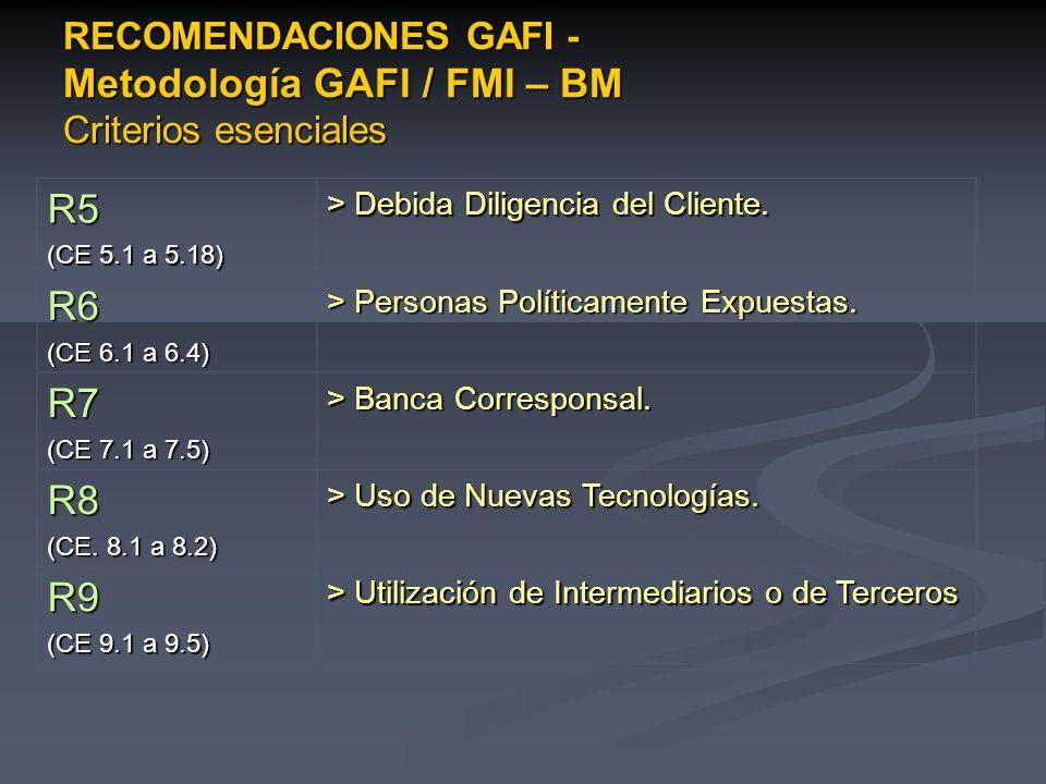 RECOMENDACIONES GAFI - Metodología GAFI / FMI – BM Criterios esenciales
