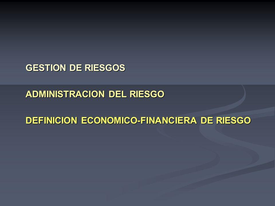 GESTION DE RIESGOS ADMINISTRACION DEL RIESGO DEFINICION ECONOMICO-FINANCIERA DE RIESGO