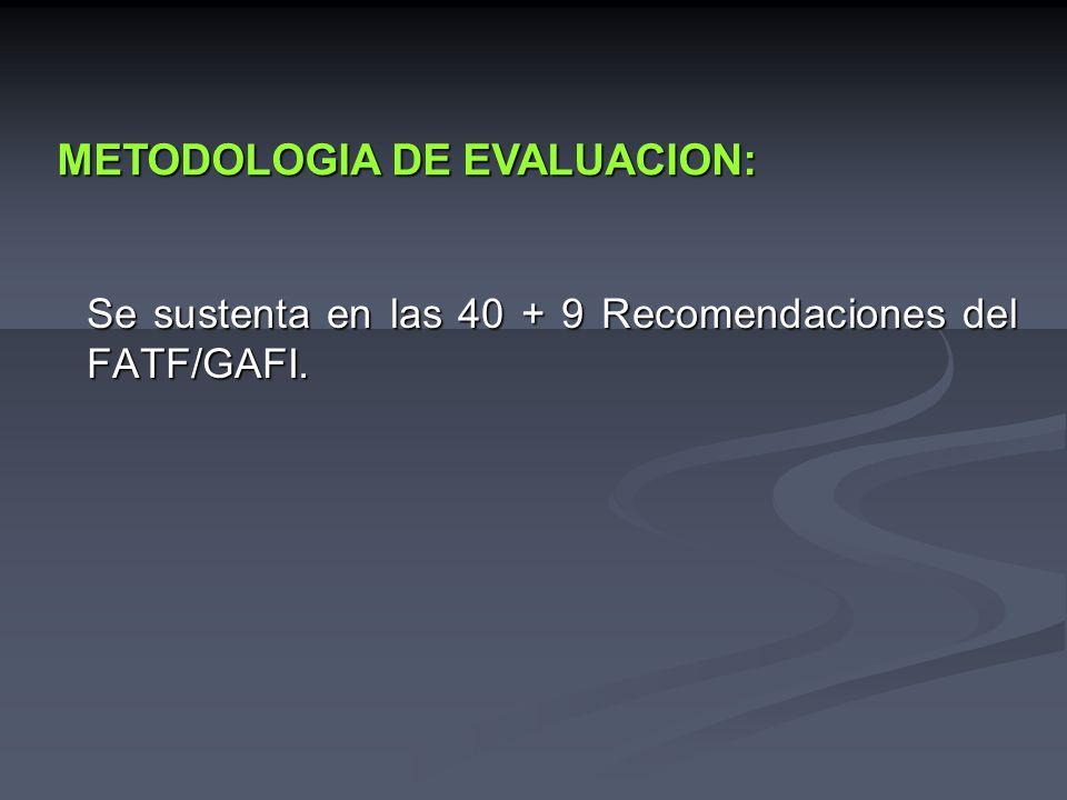 Se sustenta en las 40 + 9 Recomendaciones del FATF/GAFI.