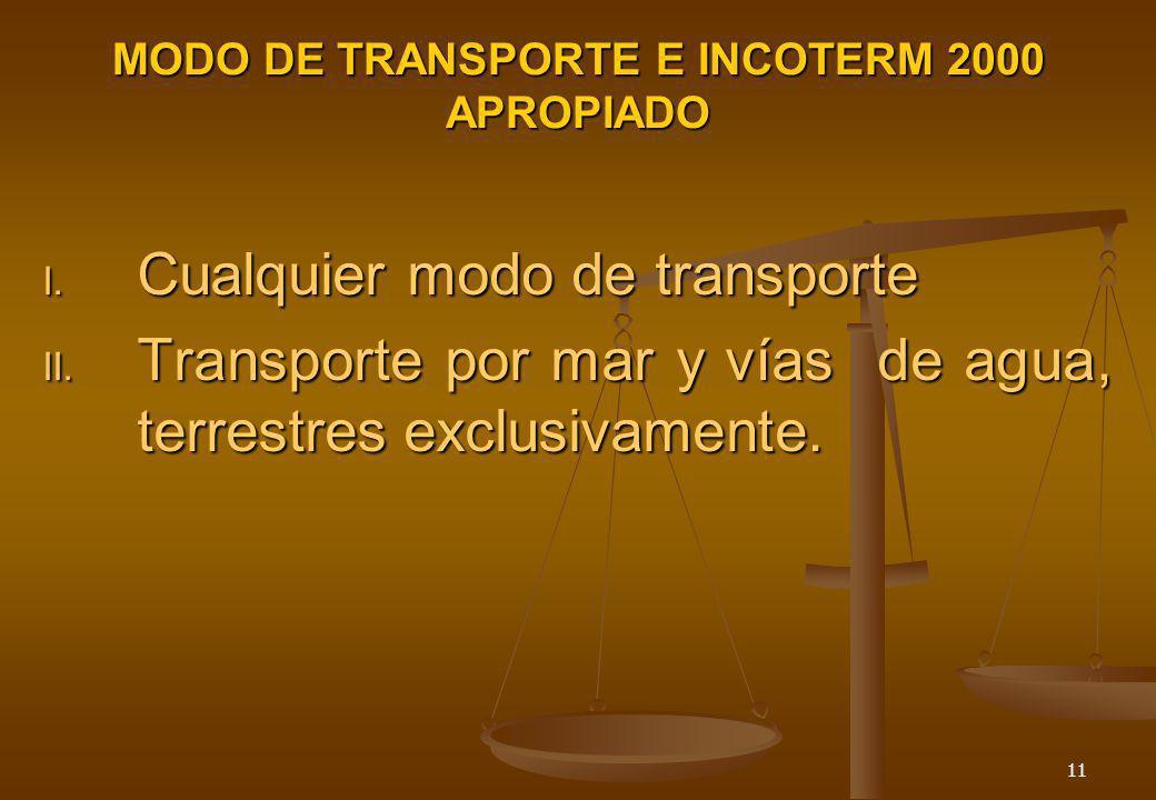 MODO DE TRANSPORTE E INCOTERM 2000 APROPIADO