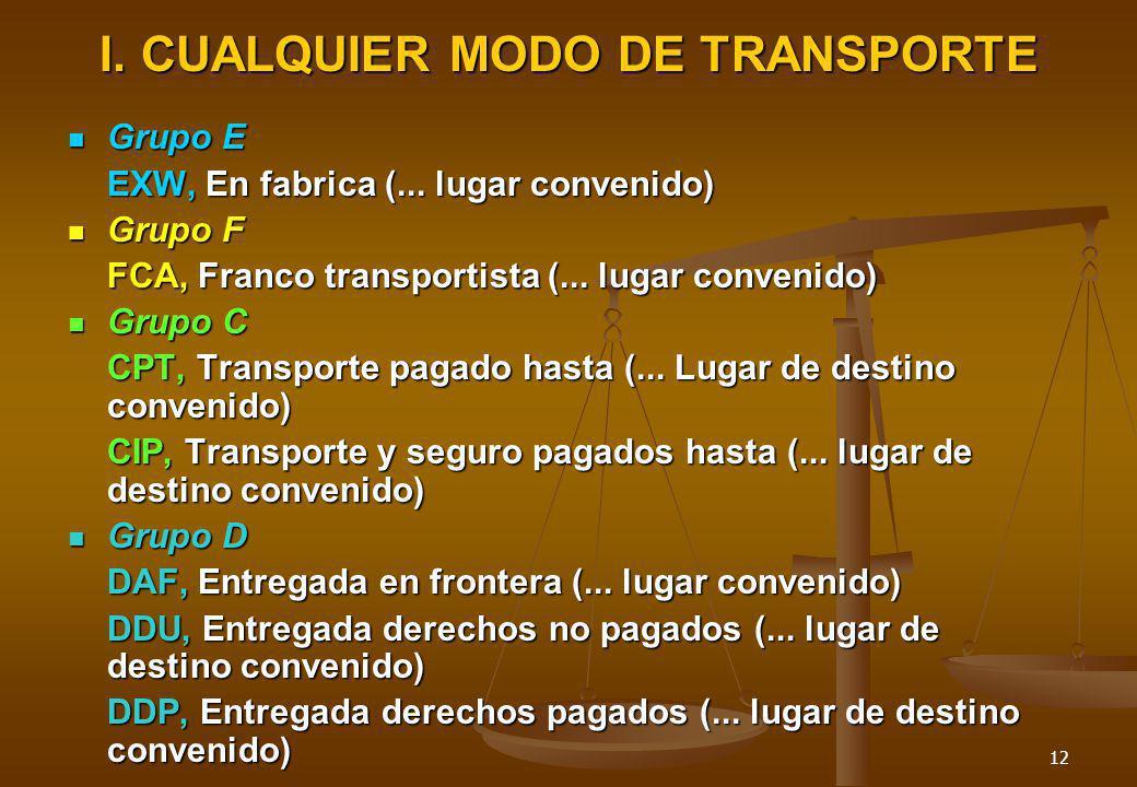 I. CUALQUIER MODO DE TRANSPORTE