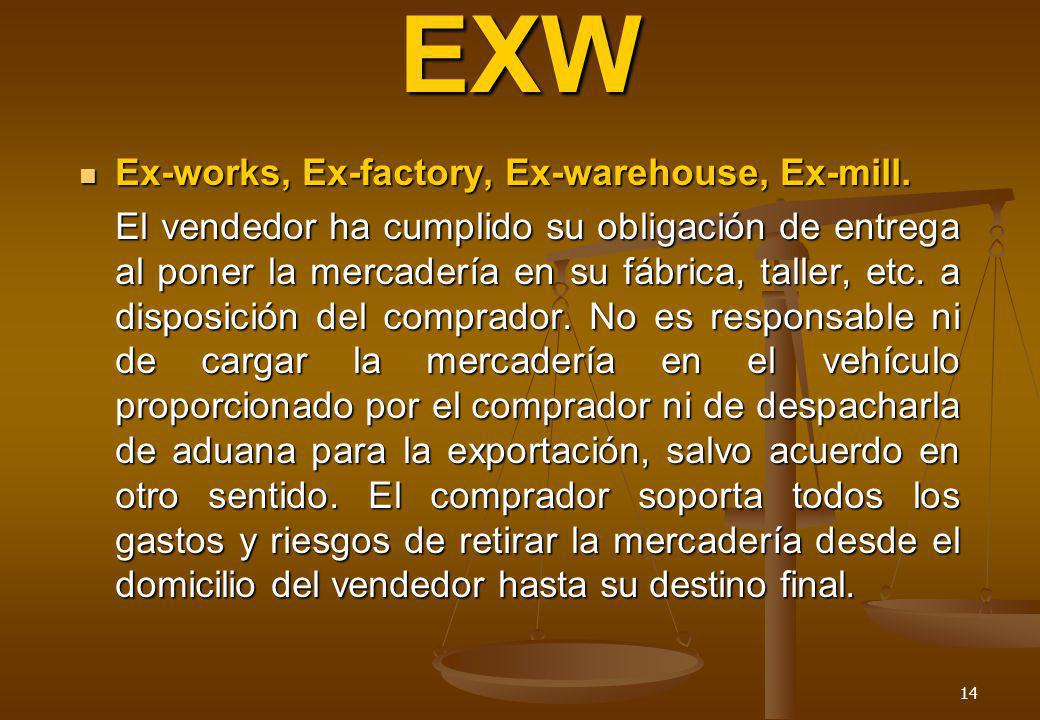 EXW Ex-works, Ex-factory, Ex-warehouse, Ex-mill.