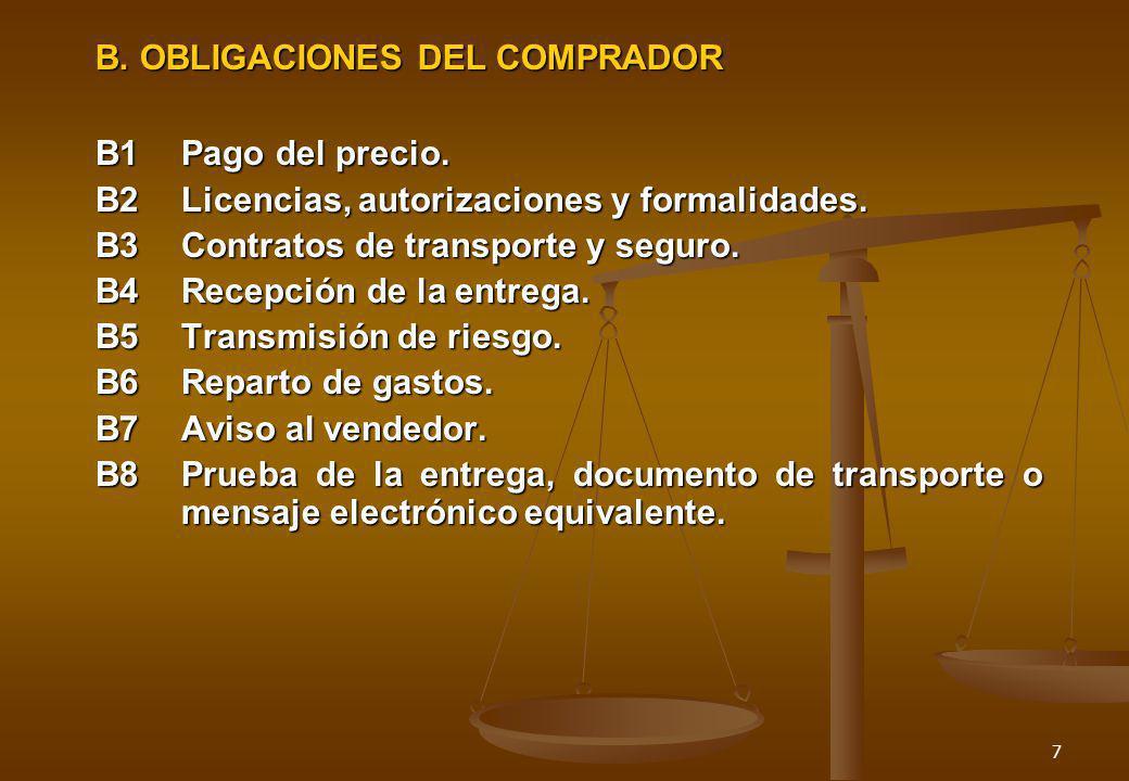 B. OBLIGACIONES DEL COMPRADOR