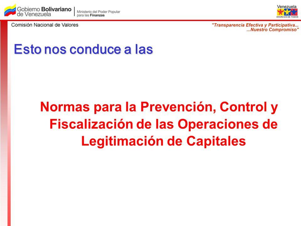 Esto nos conduce a las Normas para la Prevención, Control y Fiscalización de las Operaciones de Legitimación de Capitales.