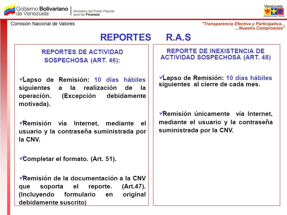 REPORTES R.A.S REPORTES DE ACTIVIDAD SOSPECHOSA (ART. 46):