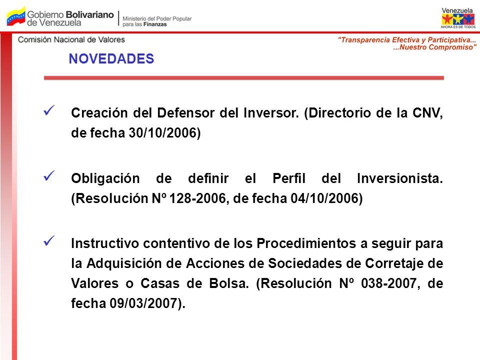 NOVEDADES Creación del Defensor del Inversor. (Directorio de la CNV, de fecha 30/10/2006)