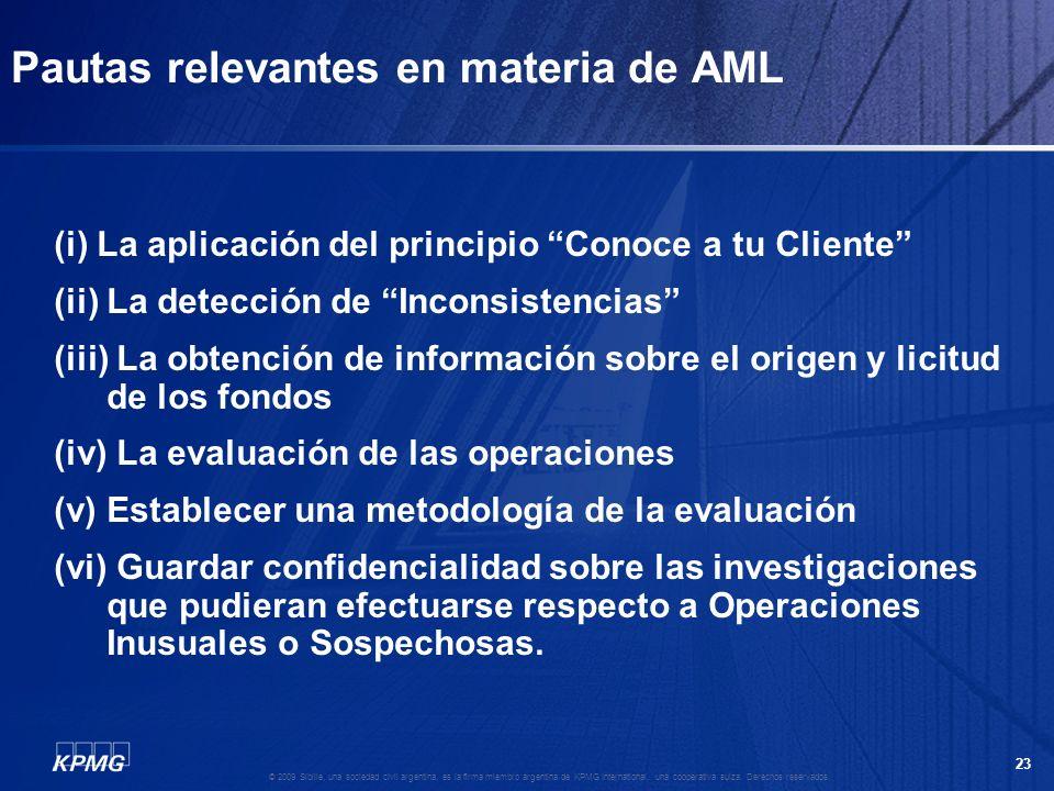 Pautas relevantes en materia de AML