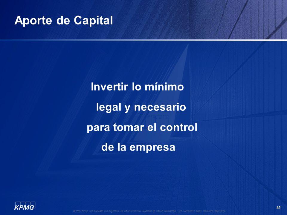 Aporte de Capital Invertir lo mínimo legal y necesario