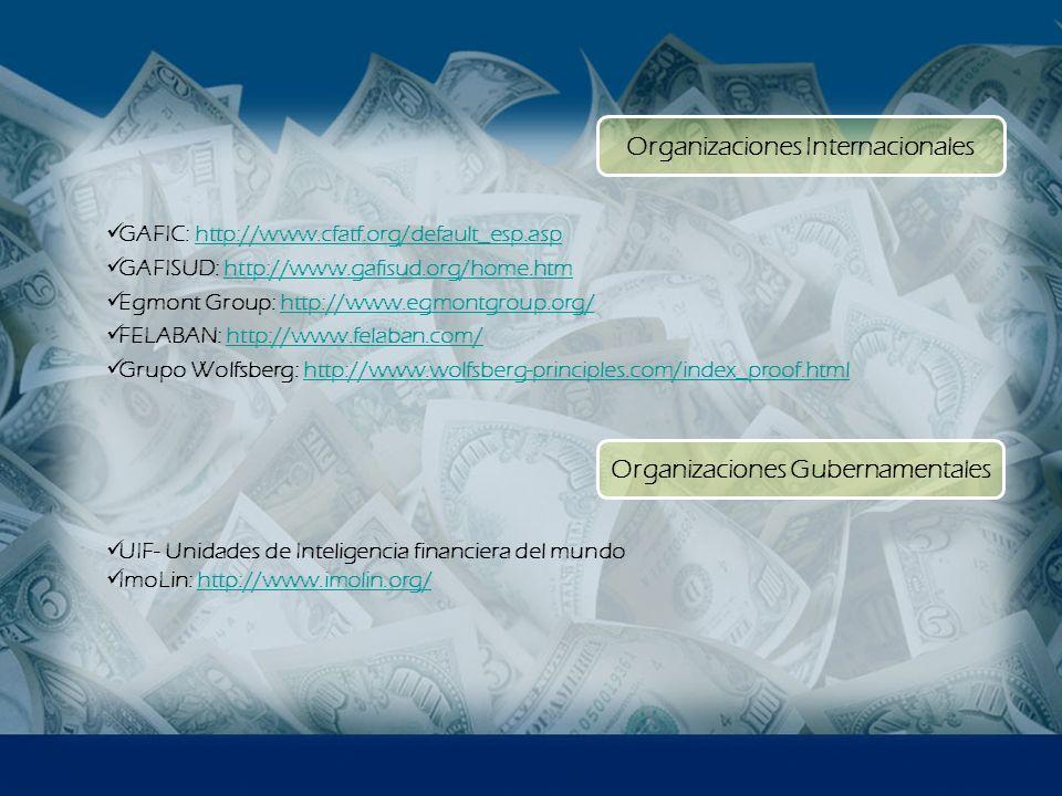 Organizaciones Internacionales Organizaciones Gubernamentales