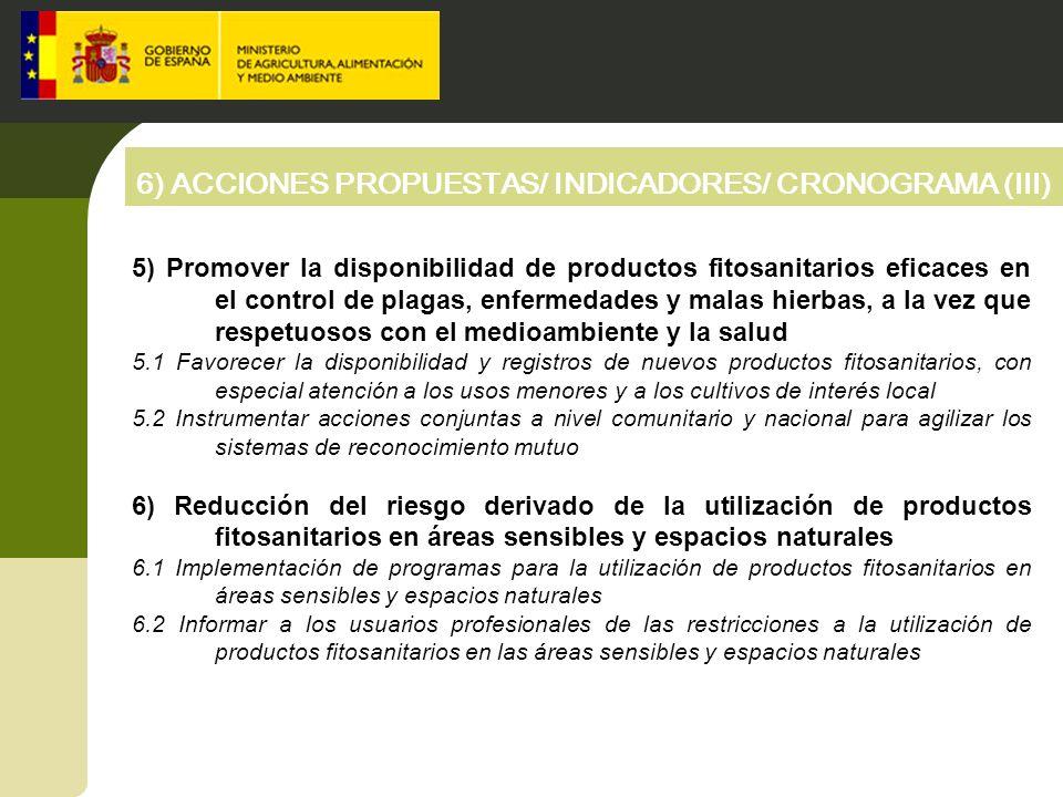 6) ACCIONES PROPUESTAS/ INDICADORES/ CRONOGRAMA (III)