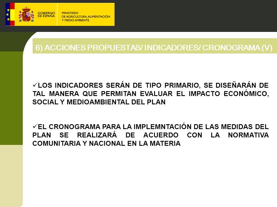6) ACCIONES PROPUESTAS/ INDICADORES/ CRONOGRAMA (V)
