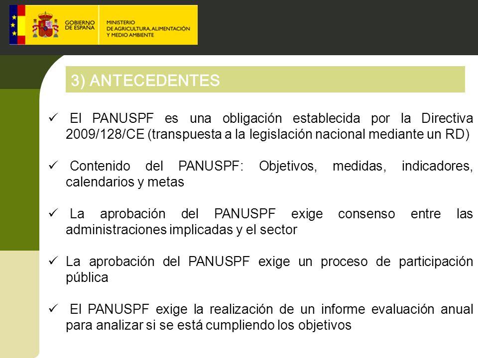 3) ANTECEDENTES El PANUSPF es una obligación establecida por la Directiva 2009/128/CE (transpuesta a la legislación nacional mediante un RD)