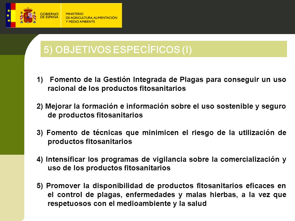 5) OBJETIVOS ESPECÍFICOS (I)