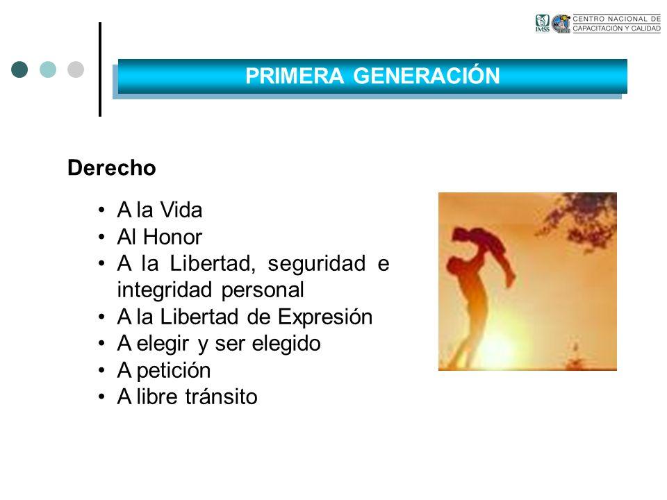 PRIMERA GENERACIÓN Derecho. A la Vida. Al Honor. A la Libertad, seguridad e integridad personal.