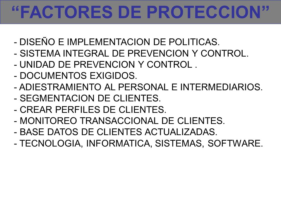 FACTORES DE PROTECCION