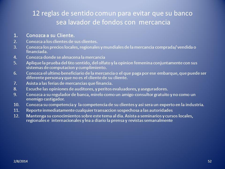 12 reglas de sentido comun para evitar que su banco sea lavador de fondos con mercancia