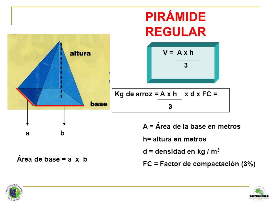 PIRÁMIDE REGULAR V = A x h 3 Kg de arroz = A x h x d x FC = 3