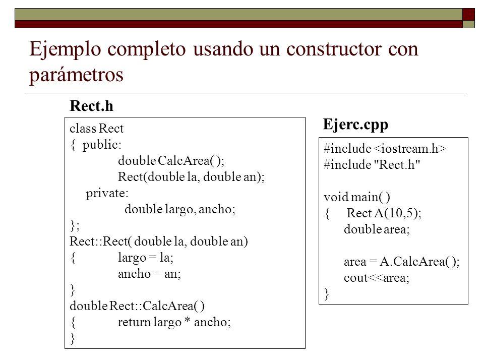 Ejemplo completo usando un constructor con parámetros