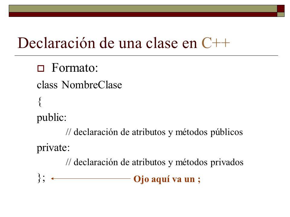 Declaración de una clase en C++