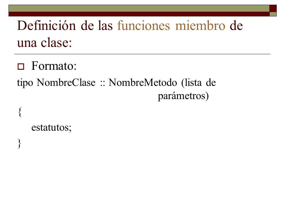 Definición de las funciones miembro de una clase: