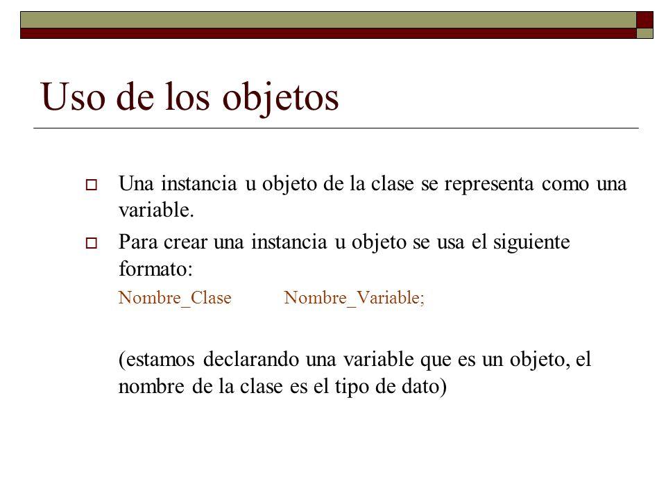 Uso de los objetos Una instancia u objeto de la clase se representa como una variable.