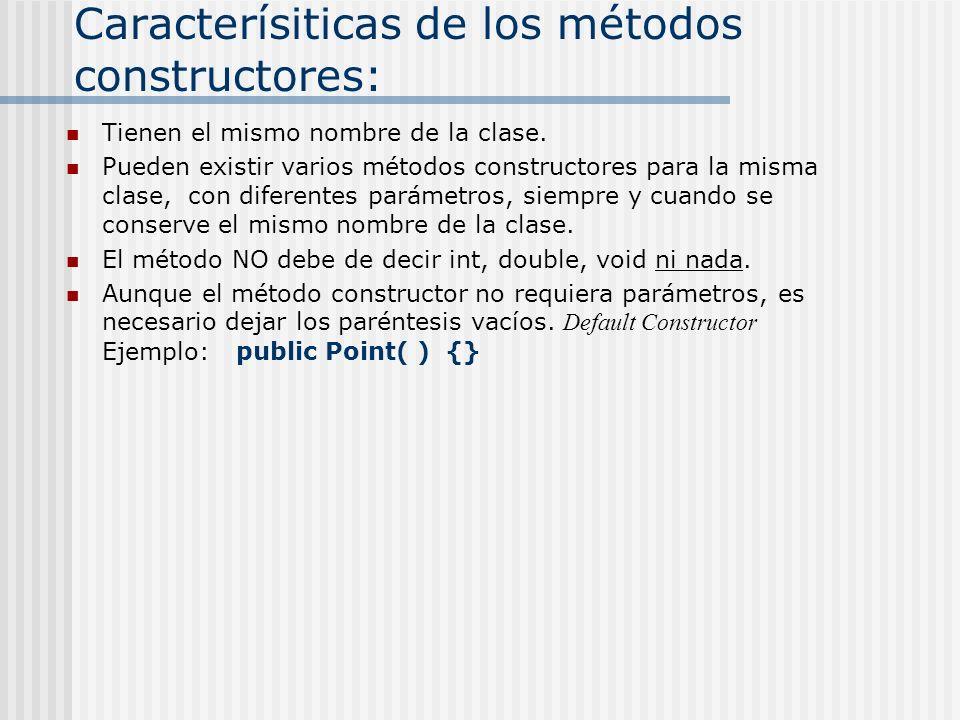 Caracterísiticas de los métodos constructores: