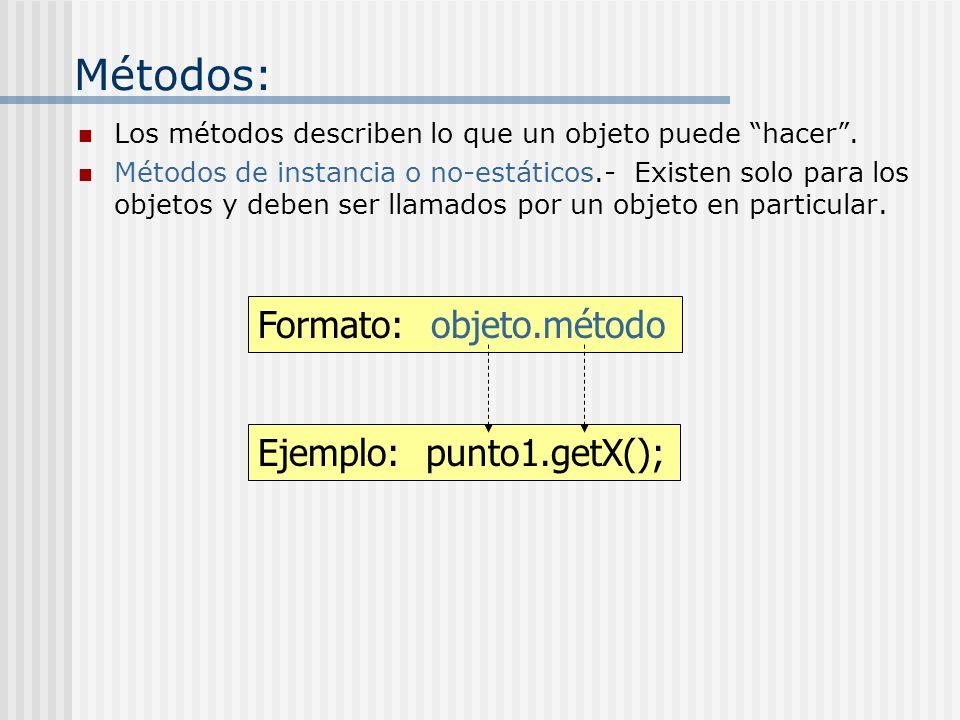 Métodos: Formato: objeto.método Ejemplo: punto1.getX();