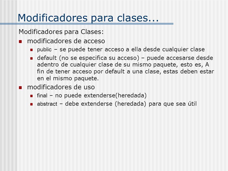 Modificadores para clases...