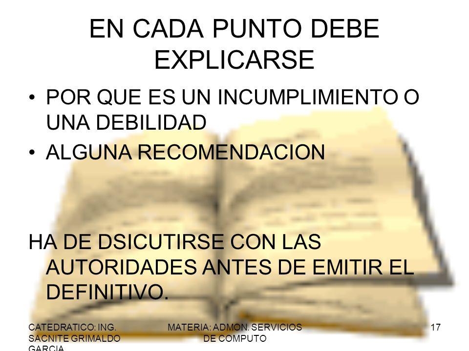 EN CADA PUNTO DEBE EXPLICARSE