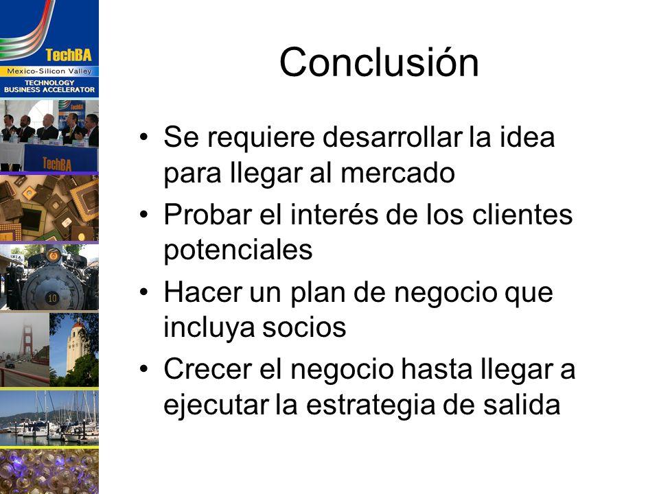 Conclusión Se requiere desarrollar la idea para llegar al mercado
