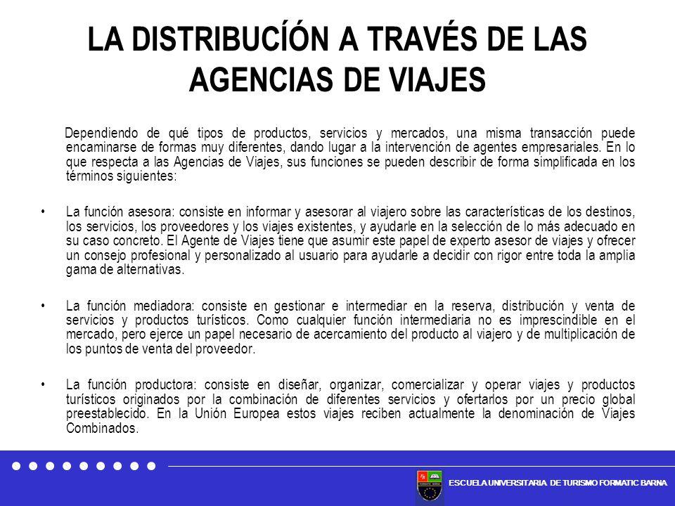 LA DISTRIBUCÍÓN A TRAVÉS DE LAS AGENCIAS DE VIAJES