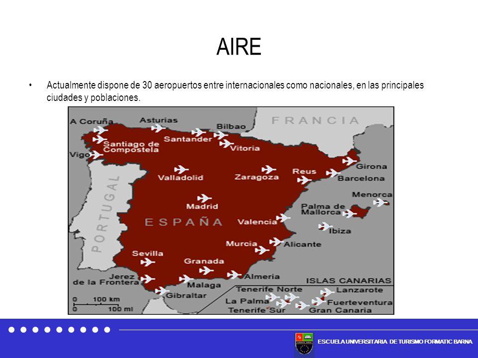 AIRE Actualmente dispone de 30 aeropuertos entre internacionales como nacionales, en las principales ciudades y poblaciones.