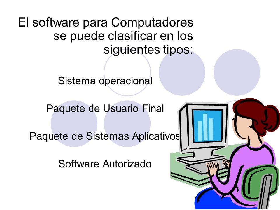 El software para Computadores se puede clasificar en los siguientes tipos: